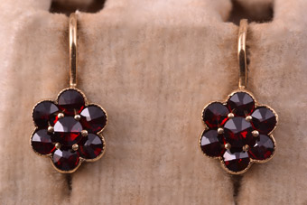 Silver Gilt Modern Drop Hook Earrings With Garnets