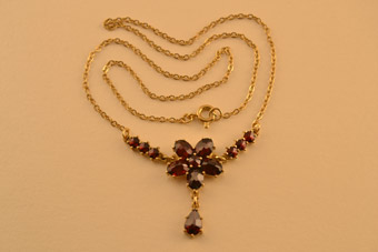 Silver Gilt Modern Necklace With Garnets