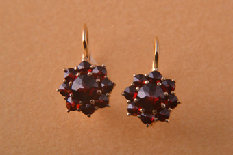 Silver Gilt Modern Hook Drop Earrings With Garnets