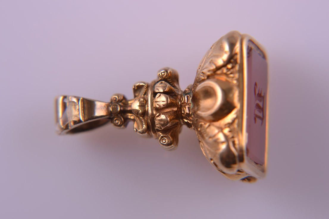 Gold Cased Victorian Fob With Carnelian Stone And Engraved Initial