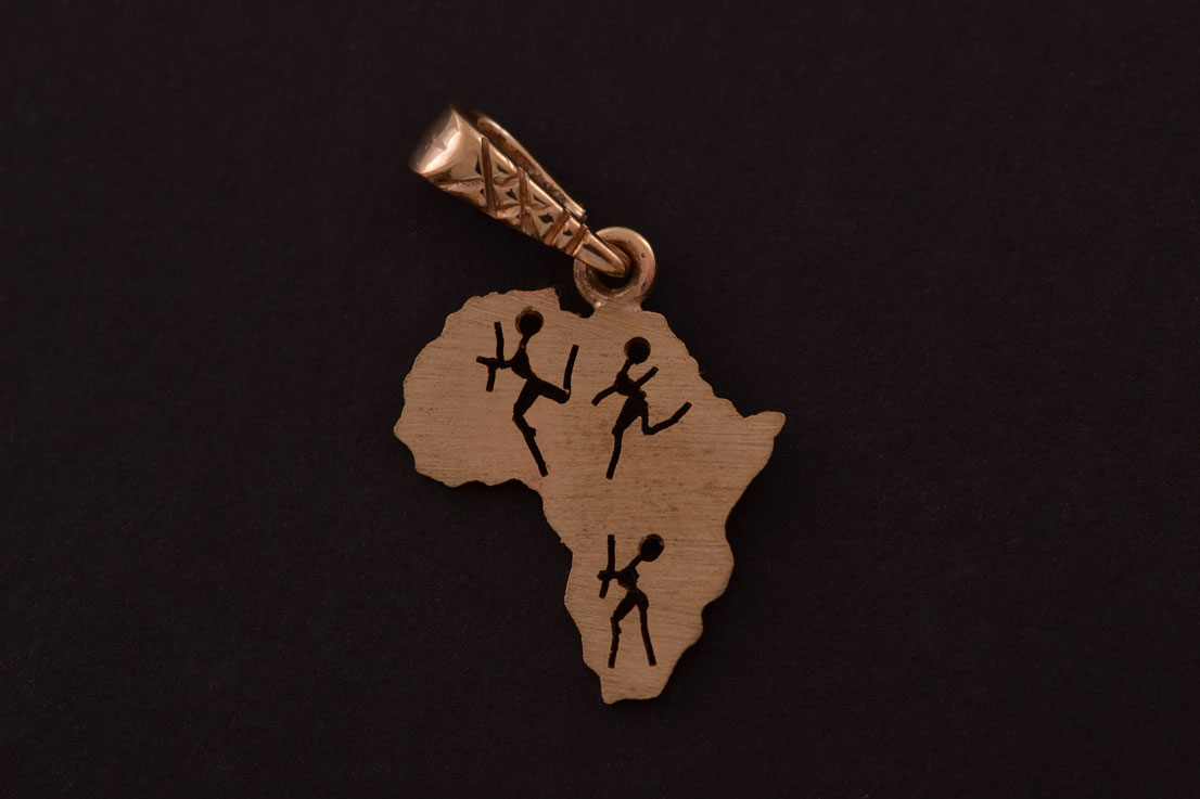 9ct Yellow Gold Modern African Charm With Bushmen