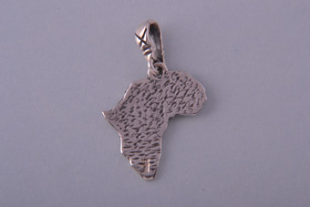 Silver African Map Charm