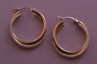 Silver Gilt Modern Stud Hoop Earrings