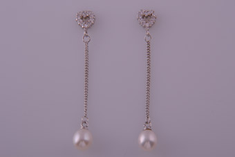 Silver Earrings With Cubic Zirconia And Fresh Water Pearls