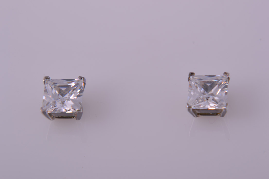 Silver Modern Stud Earrings With Square Cubic Zirconia