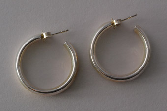 Silver Modern Hoop Stud Earrings