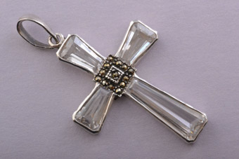 Silver Modern Cross With Cubic Zirconia And Marcasite