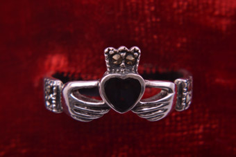 Silver Modern Claddagh Ring With Marcasite And Enamel