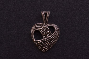 Modern Silver Heart Pendant With Marcasite