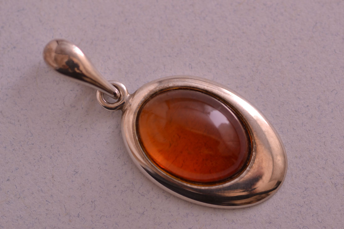 Silver Modern Pendant With Amber