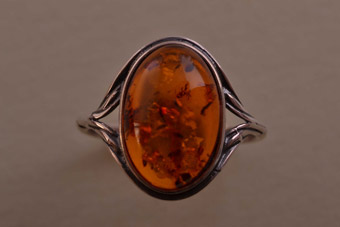 Silver Modern Ring With Amber