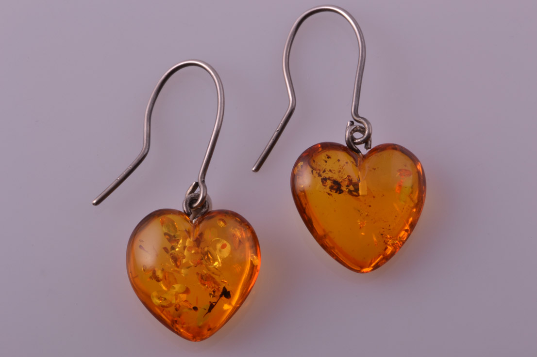 Amber Modern Drop Earrings With Silver Hooks Modern