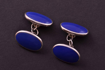 Silver Modern Royal Blue Cufflinks