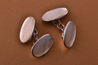 Silver Modern Cufflinks With Mother-Of-Pearl