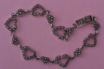 Silver Modern Heart Bracelet With Marcasite
