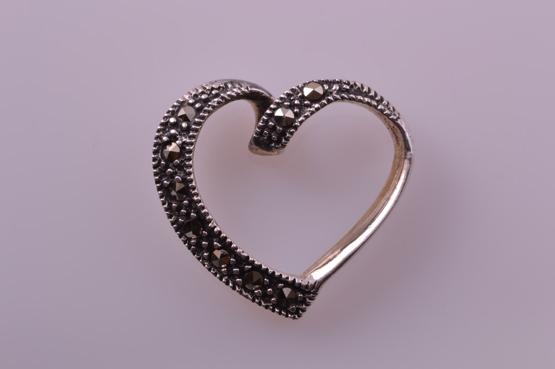 Silver Modern Witch's Heart Pendant With Marcasite