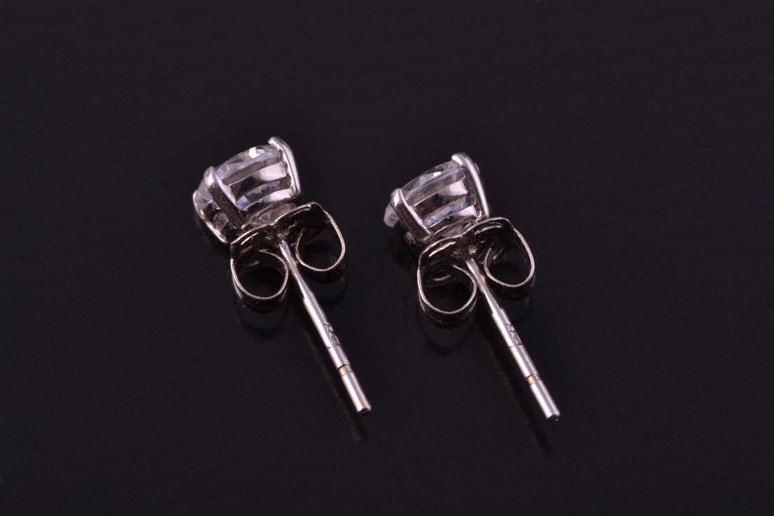 9ct White Gold Modern Stud Earrings With Cubic Zirconias
