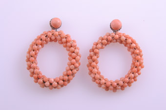 Vintage Hoop Stud Earrings With Coral Beads